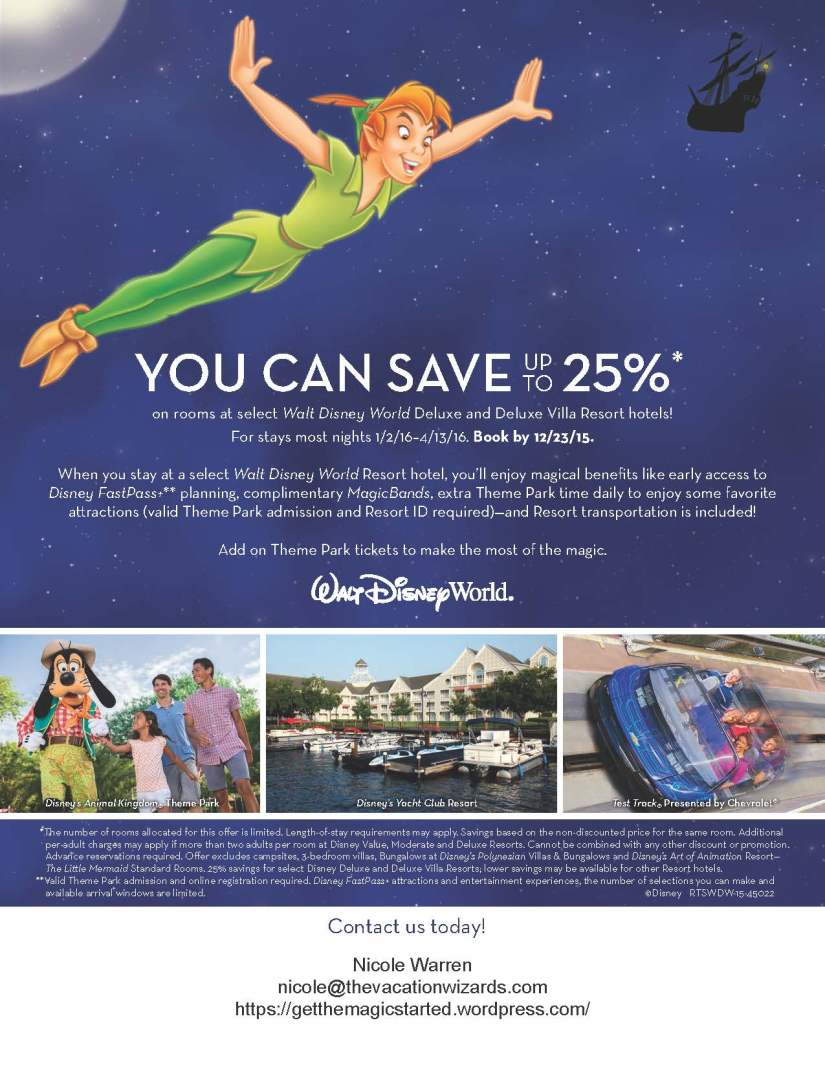 SAVE UP TO 25% ON ROOMS AT SELECT WALT DISNEY WORLD DELUXE AND DELUXE VILLA RESORTHOTELS