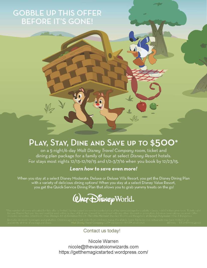 PLAY, STAY, DINE AND SAVE UP TO $500* AT WALT DISNEY WORLDRESORT!