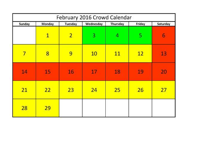Feb 2016 Crowd Calendar