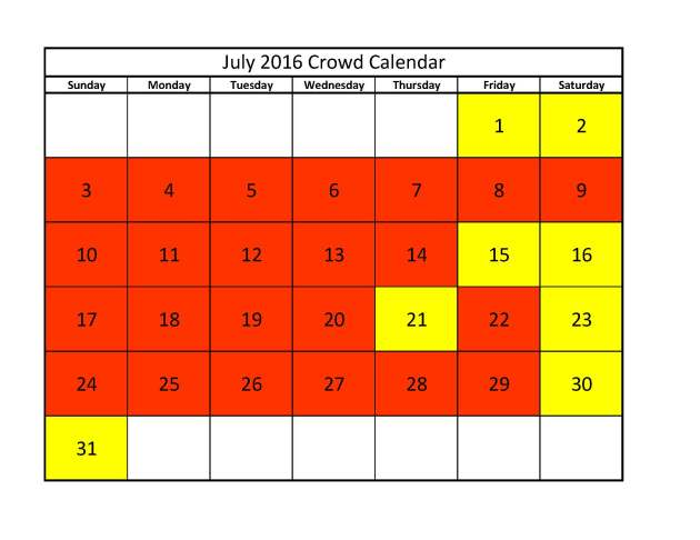 July 2016 Crowd Calendar