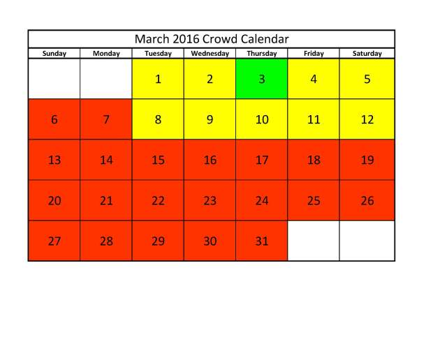 March 2016 Crowd Calendar