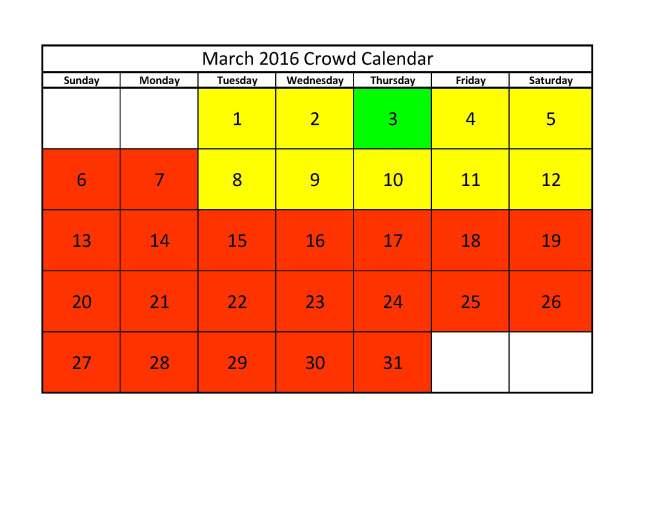 March 2016 Crowd Calendar