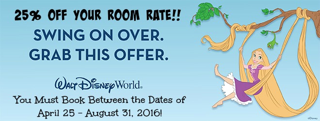 SAVE UP TO 25% ON ROOMS AT SELECT WALT DISNEY WORLD RESORT HOTELS